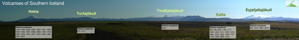 Volcanoes of Southern Iceland, as seen from Hella.  Fresh September snow highlights the higher volcanic peaks.