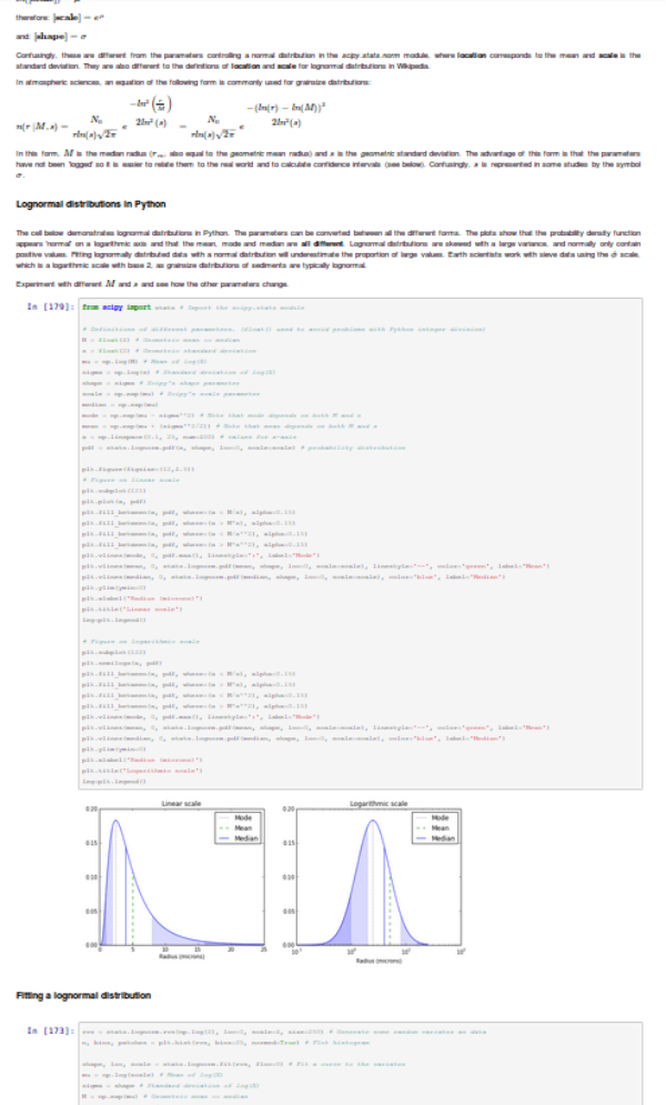 iPython Lognormal distributions notebook