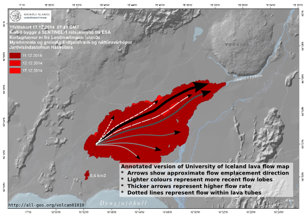 Holuhraun lava flow field map, 24 December 2014 by Institute of Earth Sciences, University of Iceland modified to show the evolution of the flow field.  Source: http://en.vedur.is/earthquakes-and-volcanism/articles/nr/2947#des25 Click to enlarge.